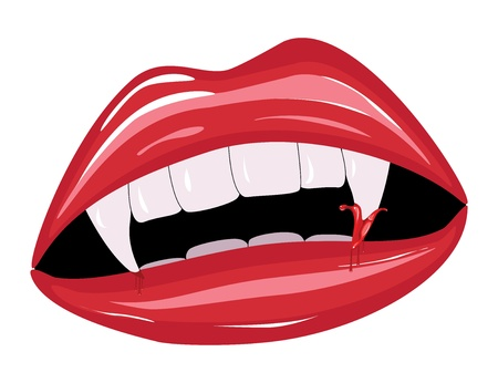 indulgence: Illustration of vampire lips with blood on white background. Illustration
