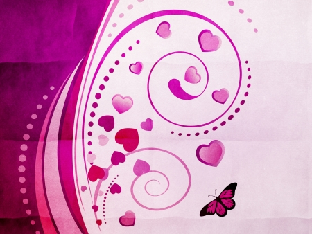 Violet ornament with swirls, hearts and butterflies on abstract background. photo