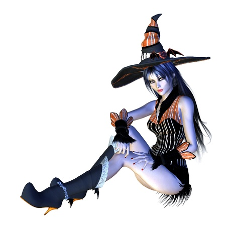 Digitally rendered image of halloween witch on white background. Stock Photo