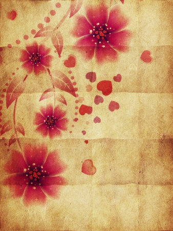 Lovely pink flowers and hearts ornament on grunge paper background. photo