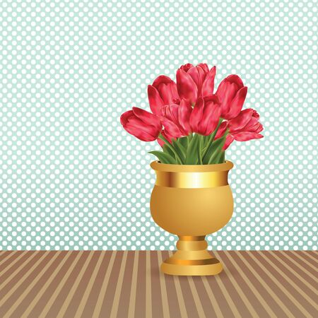 Bouquet of pink tulips in golden vase on the table. Vector