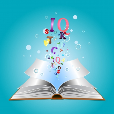 Opened book with colorful letters bursting out of it. Vectores