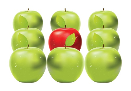 granny smith apple: Fresh red apple between green apples on white background. Illustration