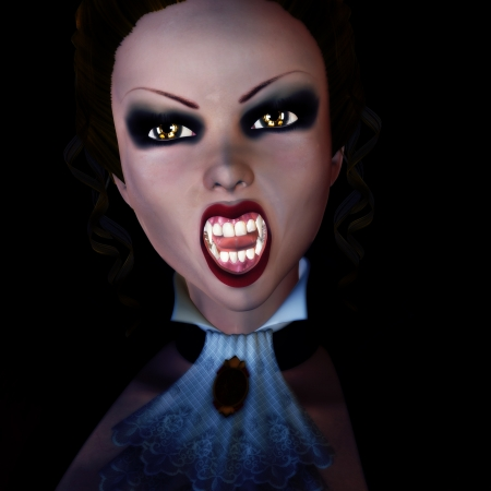 Digitally rendered image of a vampire woman on black background. photo