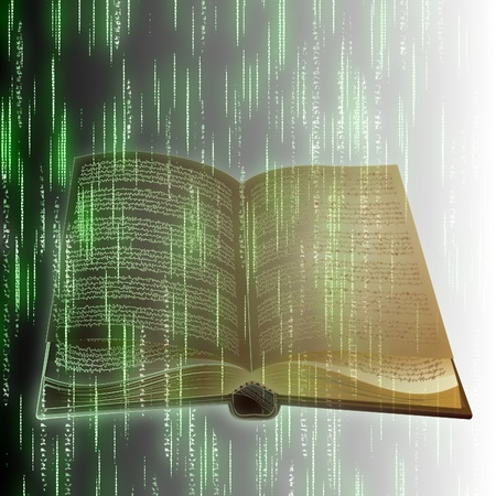 publish: Abstract old book with binary code background. Stock Photo