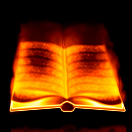 Abstract opened burning book on black background. photo