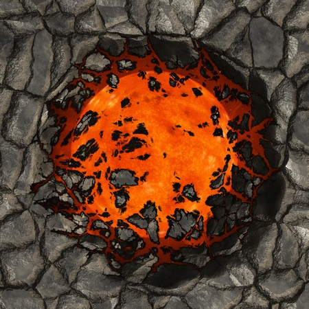 Abstract illustration with cracked ground and hot flaming center. illustration