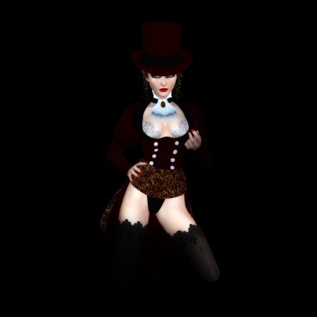 Digitally rendered image of a vampire woman on black background  Imagens
