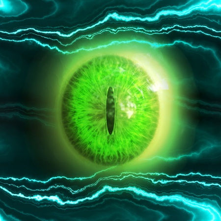 Abstract scary 3d eyeball of a monster, Halloween background  photo