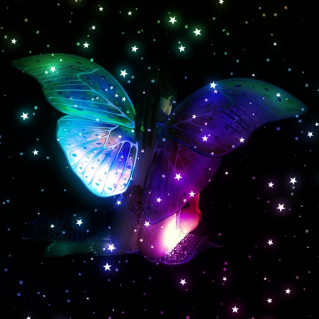 Colorful illustration with fairy and stars on black background