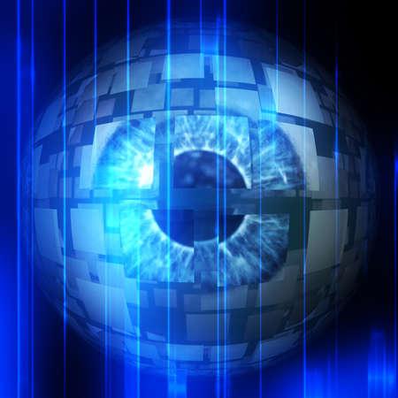 Digitally rendered illustration of an abstract technological eyeball. illustration