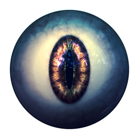 Abstract scary 3d eyeball of a monster, Halloween background. photo