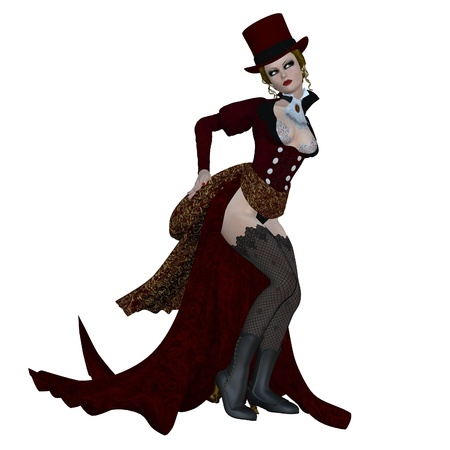 3d vampire: Digitally rendered image of a vampire woman in vintage outfit on white background.