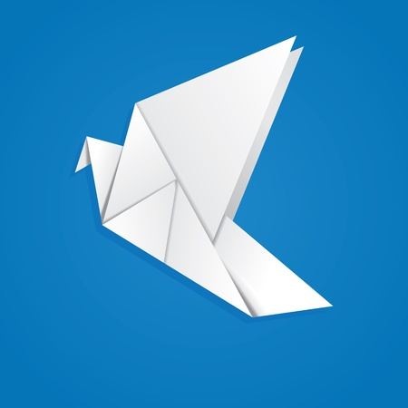 White folded paper, origami pigeon on blue background. Vector
