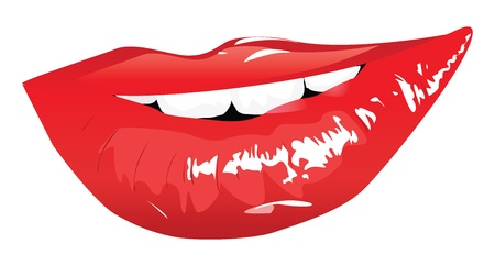 Beautiful smiling red lips on white background. Vector