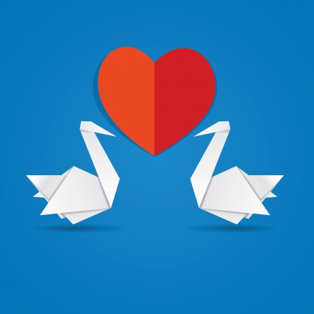 Two white paper swans and red heart on blue background. Vector