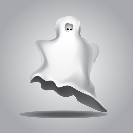 phantom: Cute funny Halloween ghost covered with a white coverlet.