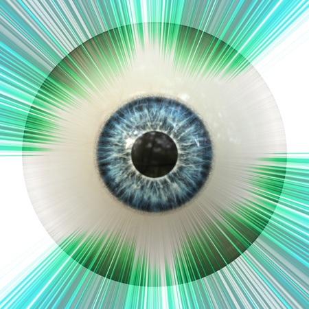 Digitally rendered illustration of an abstract eyeball with green rays background. illustration