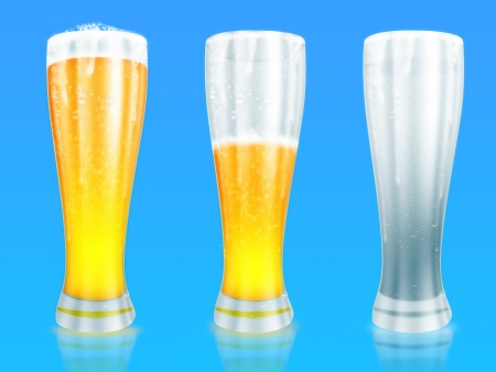 Three glasses of beer with one full, half gone, and empty on a blue background. photo