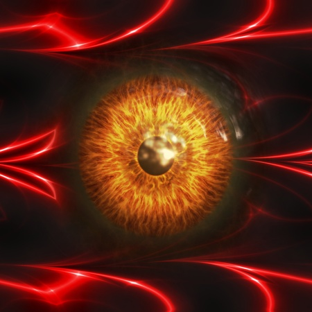 dark eyes: Abstract scary 3d eyeball of a monster, Halloween background.