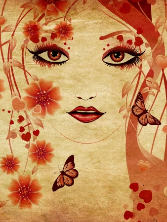 Fantasy portrait of a girl with floral in red color on paper. photo