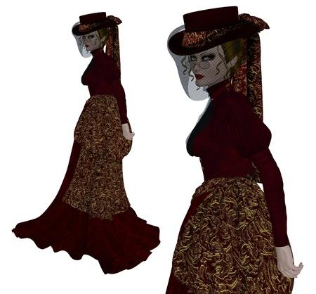 steampunk goggles: Dictado digital de imagen de una mujer vampiro en traje de �poca en el fondo blanco.