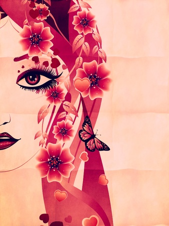 Fantasy portrait of a girl with floral in pink color on paper. photo