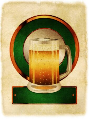 Green label with full glass of beer on paper background. photo