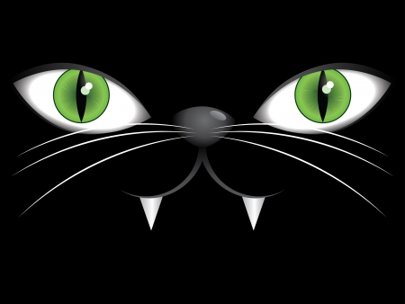 Portrait of cartoon cat on a black background with green eyes. Vector