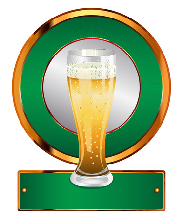 Green label with full glass of beer on white background. Vector