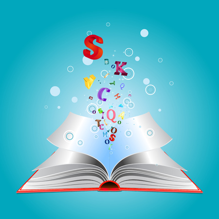 Opened book with colorful letters bursting out of it. Vector