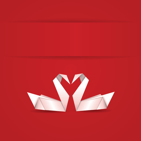 Origami, white folded paper swans on red background. Vector