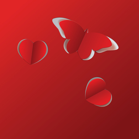 Red cut out paper butterfly and two hearts. Vector