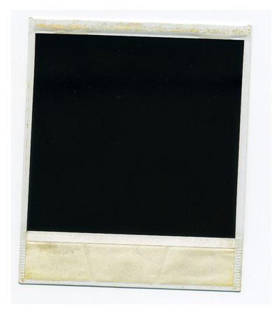 feature films: Old blank polaroid photo frame on white background.