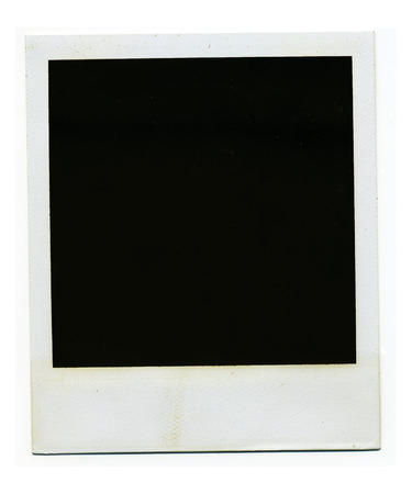 Old blank polaroid photo frame on white background.