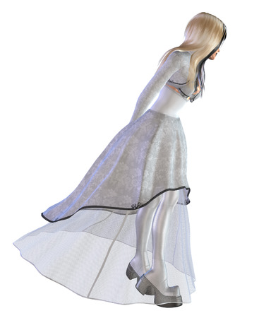 Digitally rendered illustration of a gothic girl in white dress. illustration