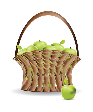 unpeeled: Fresh green apples in a basket on white background.