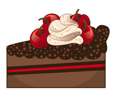 gateau: Tasty piece of chocolate cake with cream and cherries.