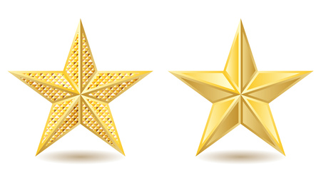 Two shiny golden stars on white background. Vector