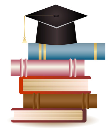 convocation: Stack of books and graduation hat on white background.