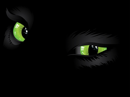 glowing skin: Cartoon cat eyes of green color on black background.