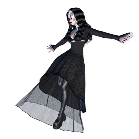 lassie: Digitally rendered image of a gothic girl in black dress on white background.