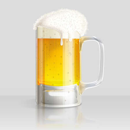 Illustration of a glass of cold beer on a gray background. illustration