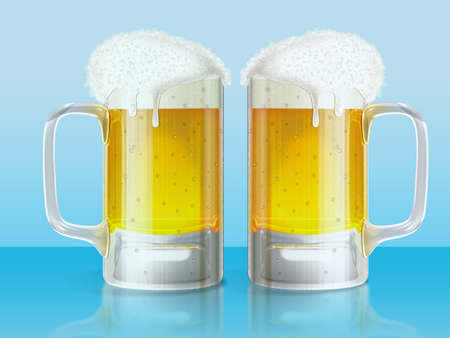 Illustration of a two mugs of cold beer on a blue background. illustration