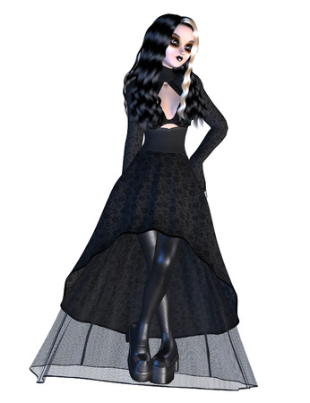 femme: Digitally rendered image of a gothic girl in black dress on white background.