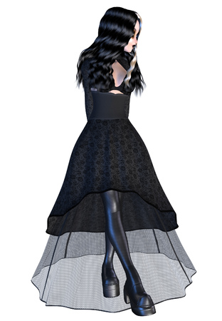 dinky: Digitally rendered image of a gothic girl in black dress on white