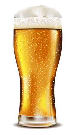 Glass of cold beer with water drops