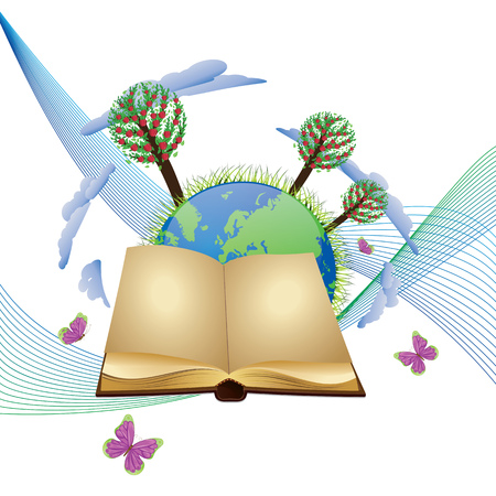 Planet Earth with apple trees, old blank open book and butterflies. Vector