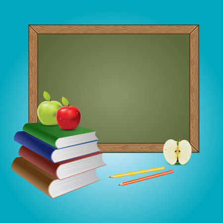 green chalkboard: Green chalkboard, books and apples on blue background.