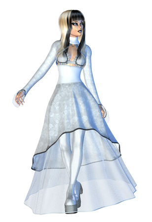 3d vampire: Digitally rendered illustration of a gothic girl in white dress.